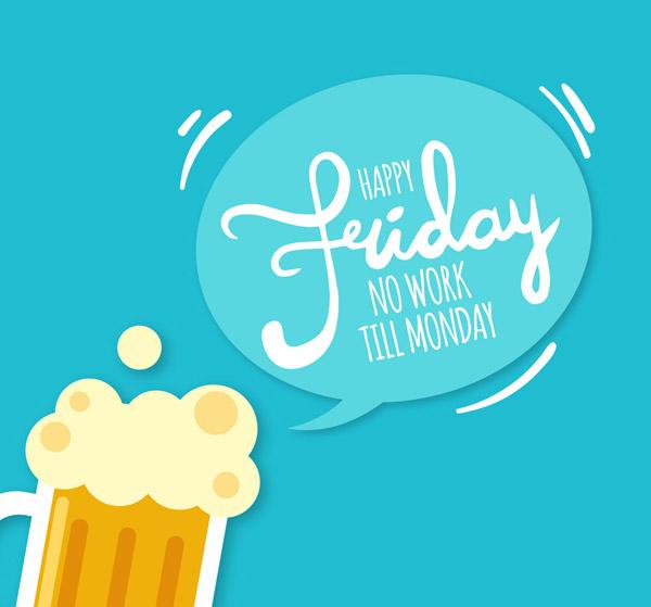 周末语言气泡和啤酒