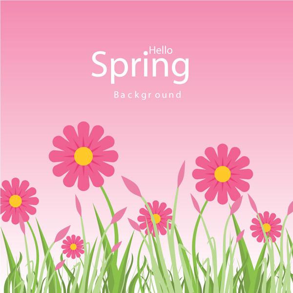粉色春季花丛设计