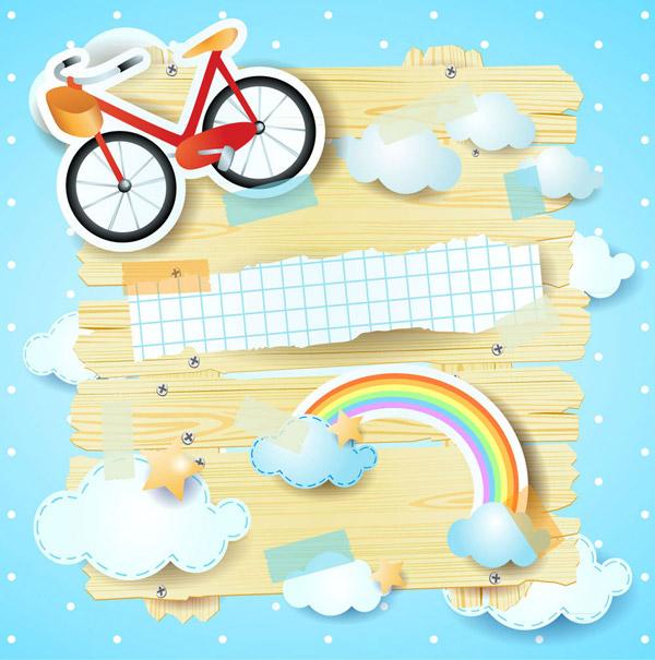 单车和彩虹剪贴画