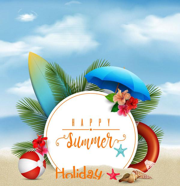 沙滩度假元素海报