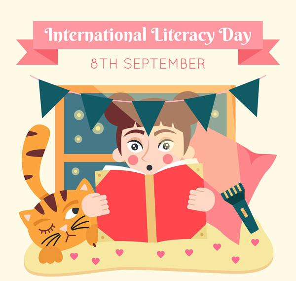 国际扫盲日读书女孩