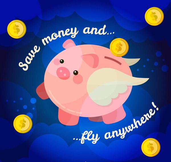 白色翅膀小猪存钱罐