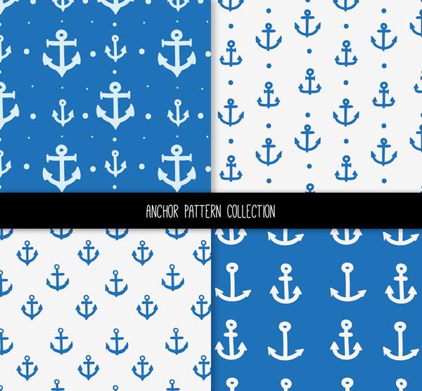 蓝色船锚无缝背景