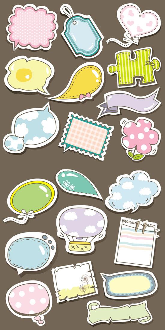 点 关键词: 卡通风格标签矢量图,卡通风格,标签设计,贴纸,吊牌,对话框