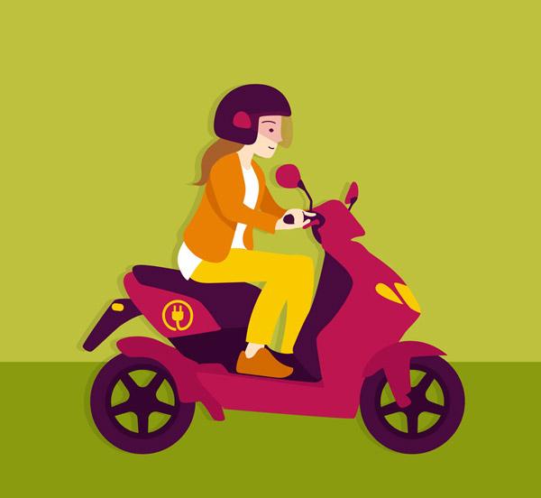 骑电动车的女子