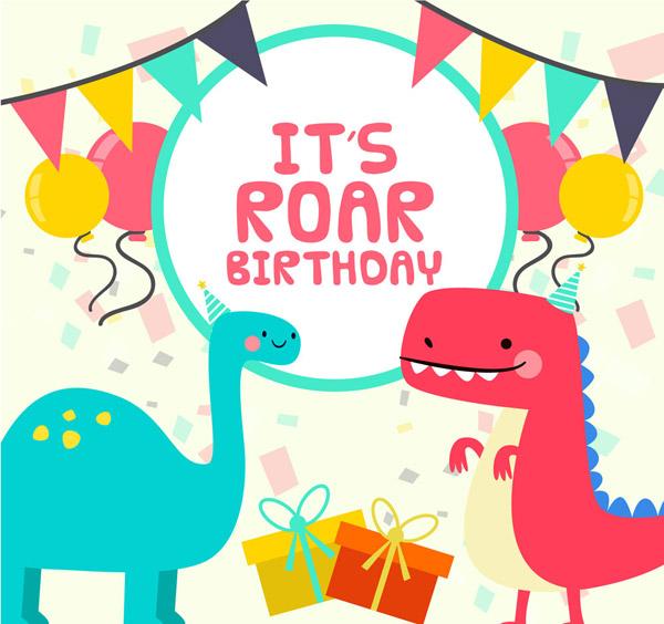 恐龙生日贺卡