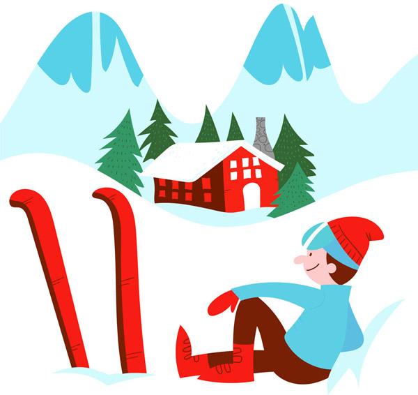 歇息中的滑雪男子
