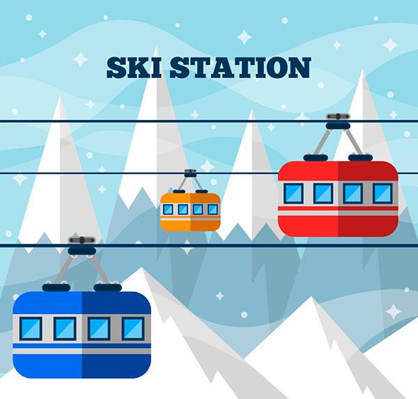 雪山滑雪缆车风景