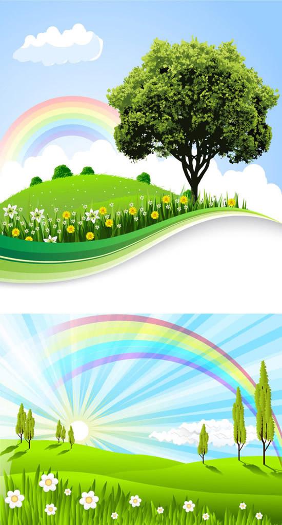 素材分类: 矢量自然风景所需点数: 0 点 关键词: 原野彩虹风景矢量素