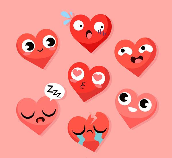 可爱表情爱心矢量