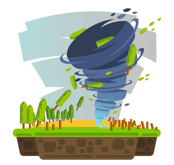 龙卷风自然灾害插画
