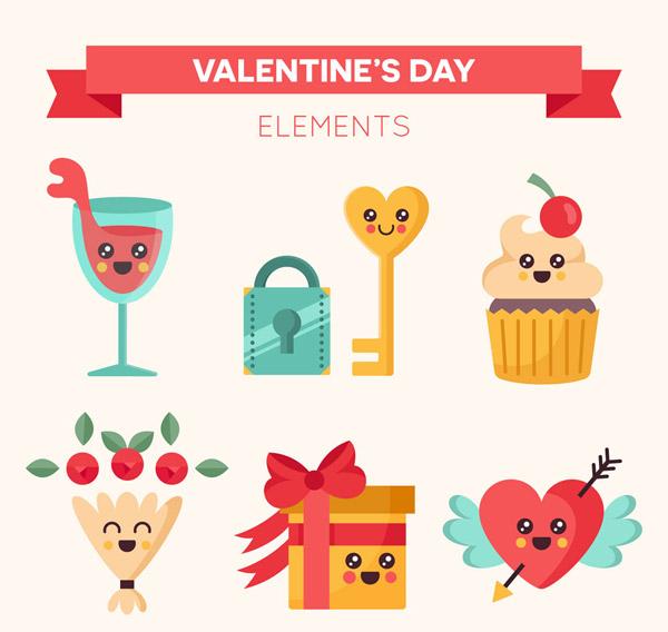 爱情人节表情元素