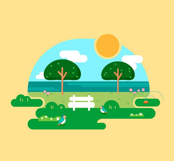 创意春季海边风景