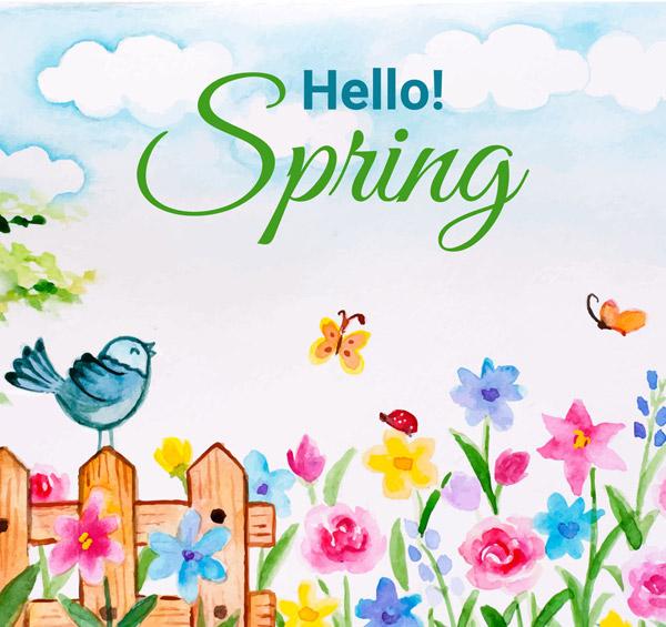 彩绘春季花园风景