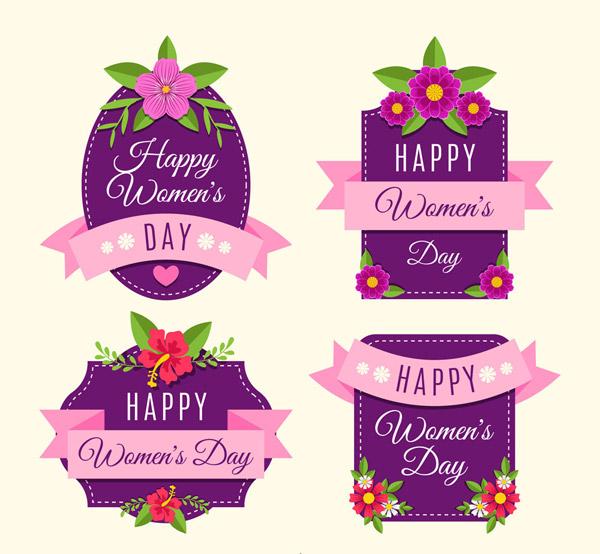 紫色妇女节标签
