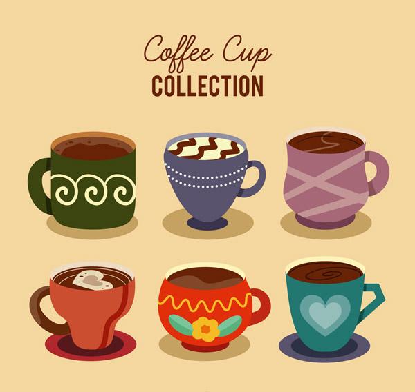 彩色花纹咖啡杯