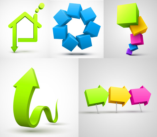 0 点 关键词: 创意立体图形矢量素材,创意图形,立体箭头,3d方块,房屋