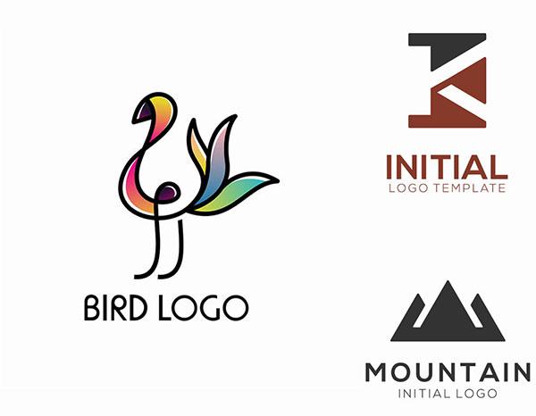 小鸟与几何图形标志