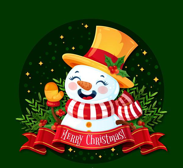 招手的圣诞雪人