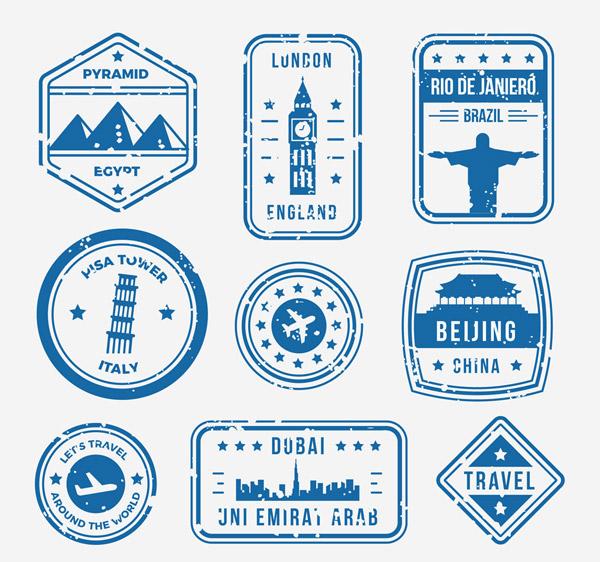 旅游城市邮戳