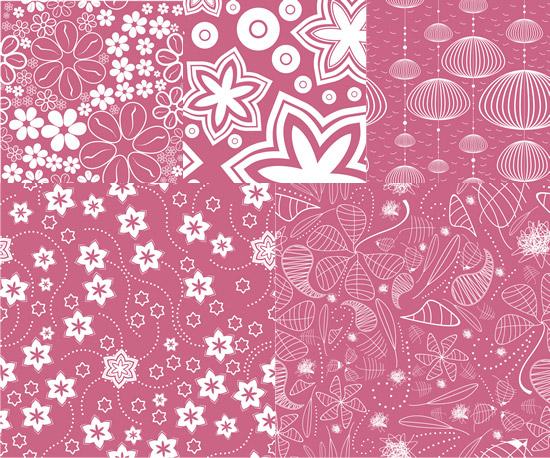 白描图案背景矢量素材,白描,花朵,叶子,线稿,图案,花纹背景,灯笼