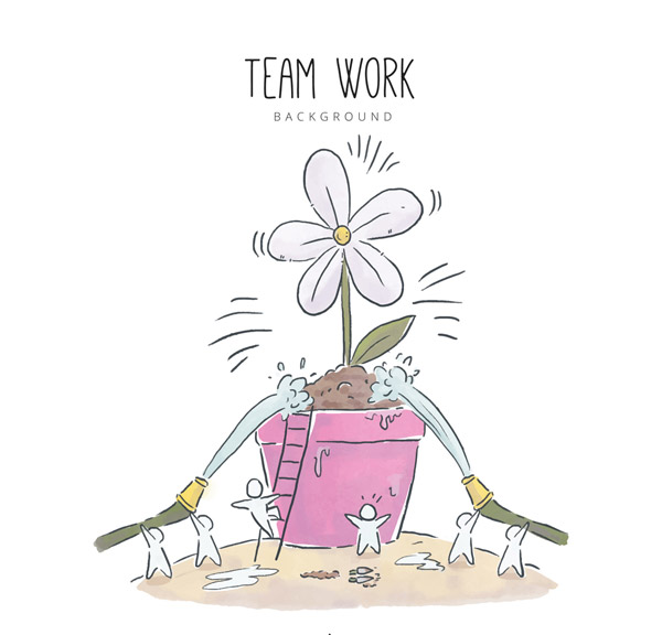 合作浇花的人物