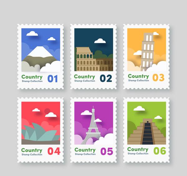 旅游城市邮票