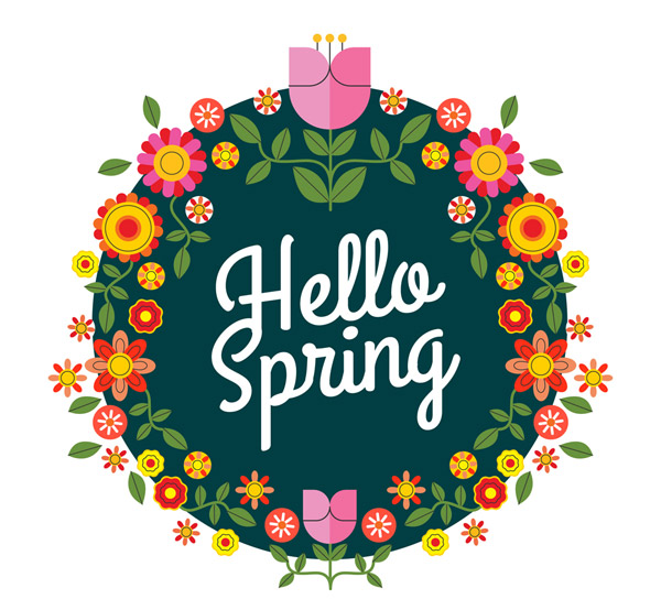 扁平化春季花环