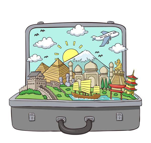行李箱里的旅游风景