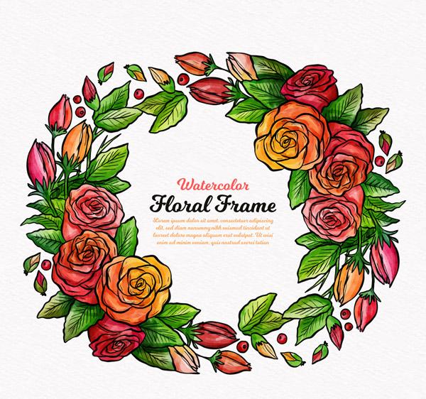 手绘圆形玫瑰框架