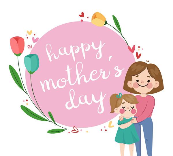 母亲节母女和花卉