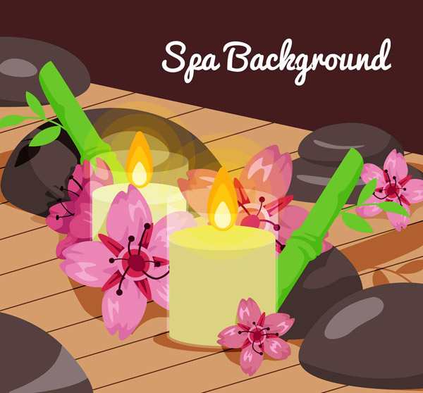 水疗花卉和蜡烛