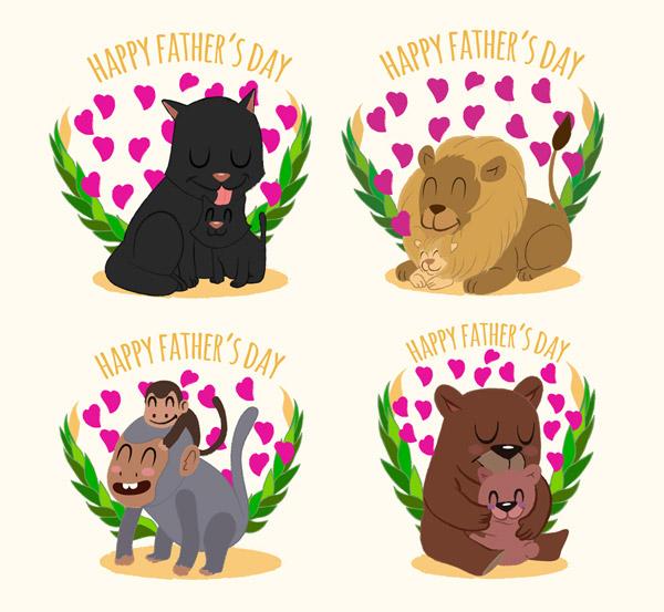 可爱父亲节动物