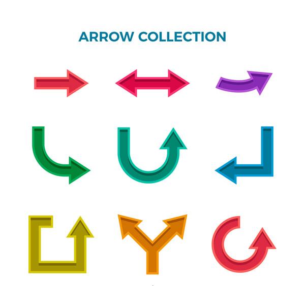 彩色凹槽箭头设计