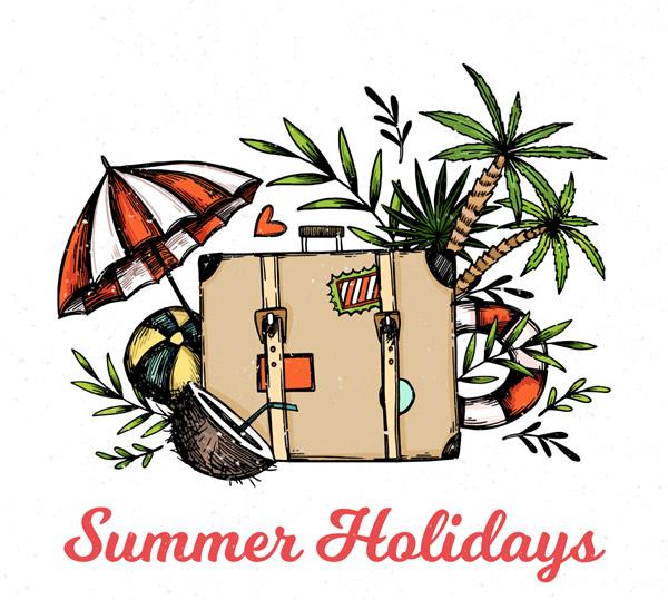 旅行箱和沙滩元素