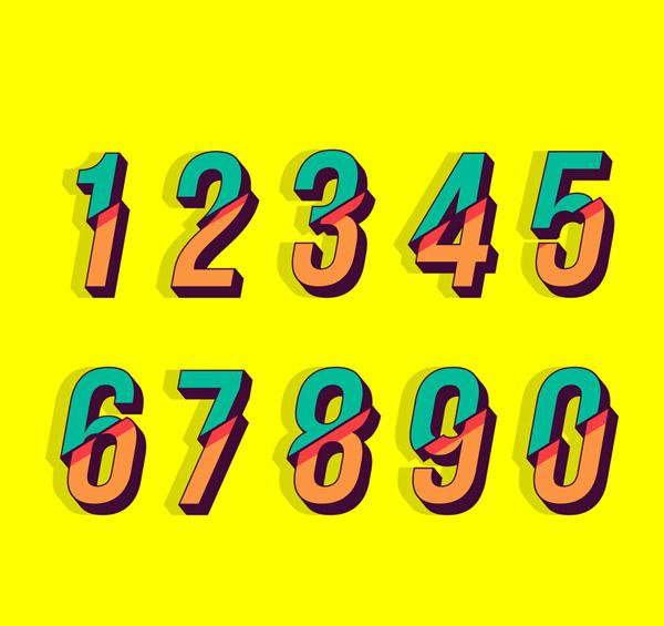 彩色切断的数字