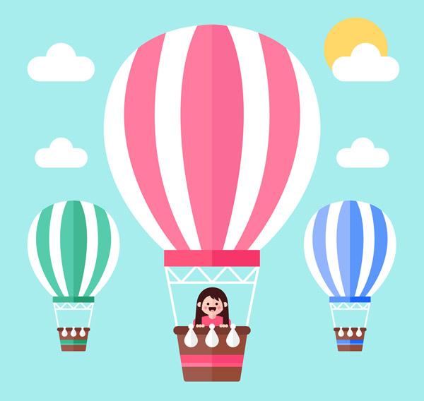 乘坐热气球里的女孩