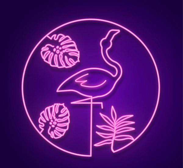 紫色火烈鸟霓虹灯