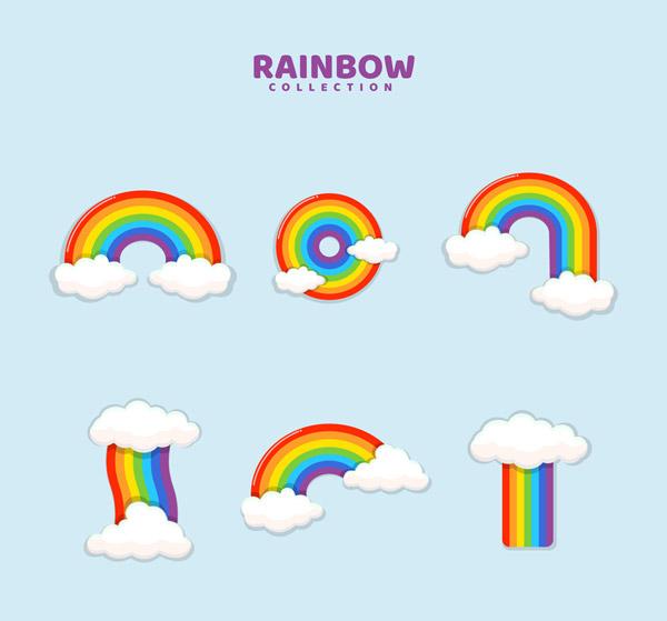 彩色云朵彩虹矢量