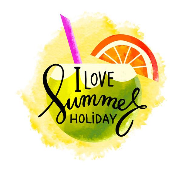 我爱夏季假期艺术字