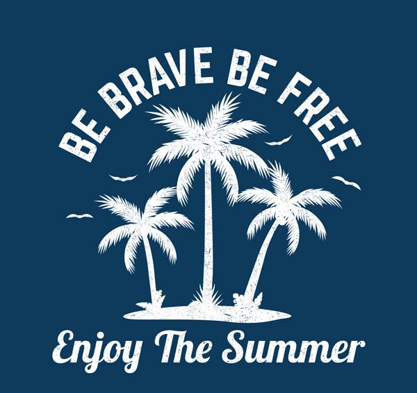 椰树剪影夏季艺术字