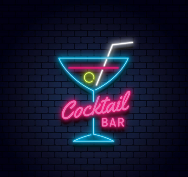 鸡尾酒酒吧霓虹灯