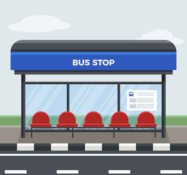 空旷的公交车站
