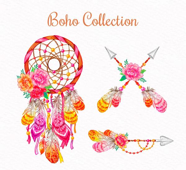 波西米亚风羽毛装饰物