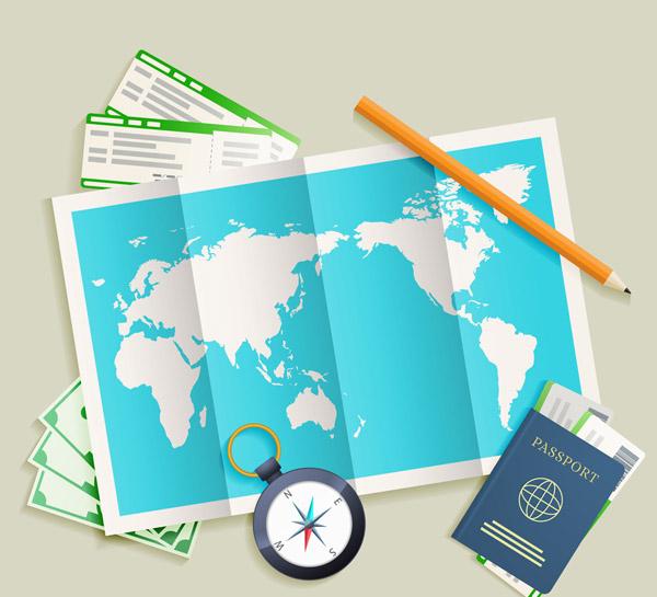 地图旅行物品矢量