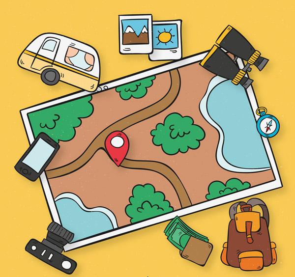 地图上的旅行元素