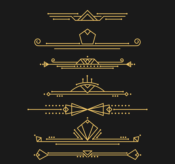 金色装饰艺术风格花边