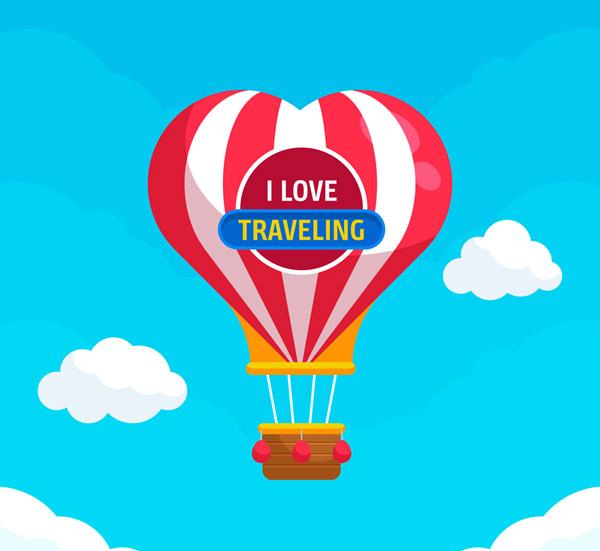 爱心条纹热气球