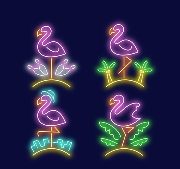 火烈鸟和绿叶霓虹灯