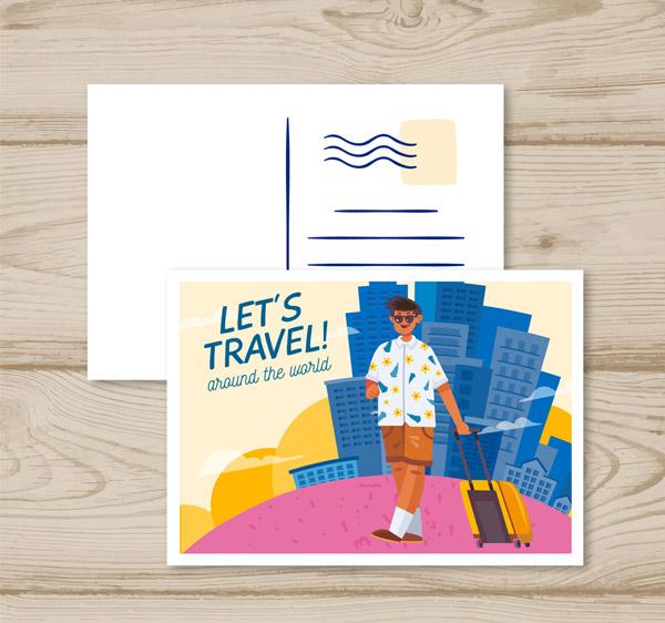 拉旅行箱的男子明信片